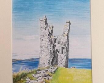 Original prismacolor drawing of Lilburn Tower, Dunstanburgh Castle Ruins, Northumberland