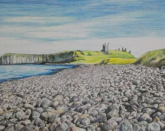 Limited edition A4 colour print of Dunstanburgh Castle and Embleton Bay Northumberland