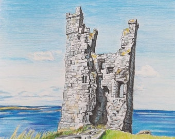 Limited edition colour print of Lilburn Tower, Dunstanburgh Castle, Northumberland