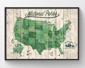 US National Parks Map, Map with Quote, Gift for hiker, Paper Anniversary Gift, National Park Print, 61 National Parks