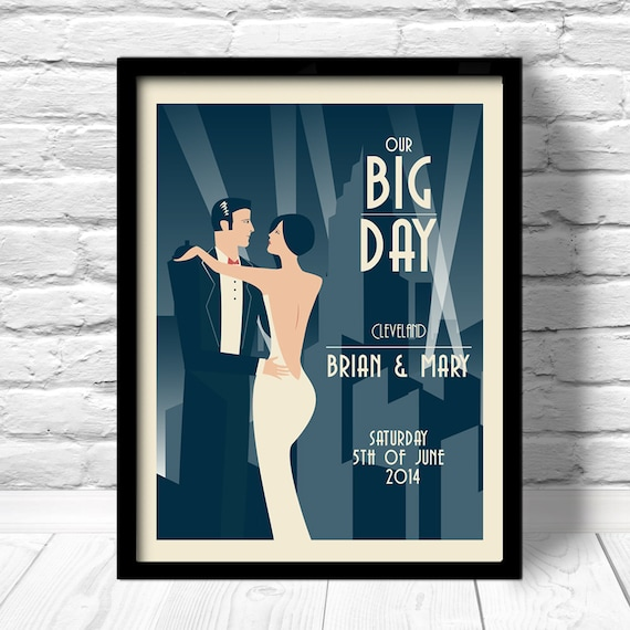 Art Deco Posters: Art Deco Wedding Print Art Deco Wedding Poster Unique