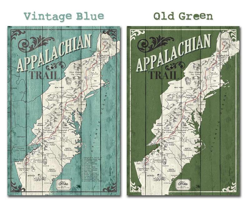 Appalachian Trail Map Map for Push PinsRustic decor Gift | Etsy