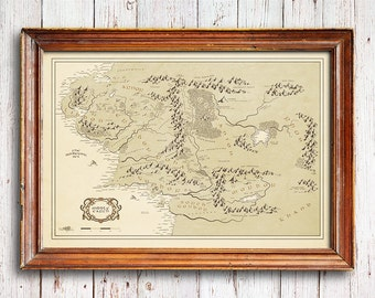 Middle Earth map, Vintage Style Map, Lord of the Rings poster, Lord of The Rings map, Map fine art, lord of the rings print