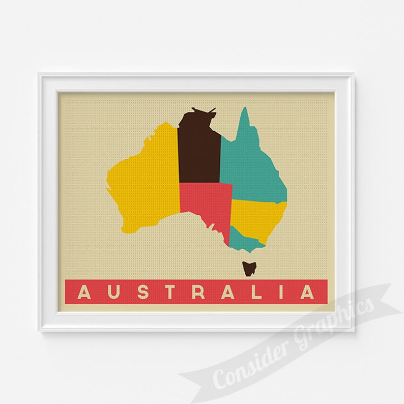 Australia Map Art.Australia Map Art Print Pop Art Map Modern Style Country Map Country Map For Home Decor Pop Art Map Print