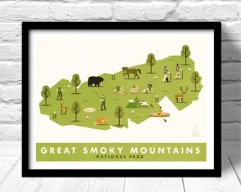 Great Smoky Mountains National Park Map, Map Print Wall Art Hiking Art Print, Explorer map print, green home decor, hiking adventure art
