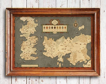 Houses of Westeros map ,Map of The Seven Kingdoms and the free cities, full map of Game of Thrones, map of Westeros, game of thrones gift