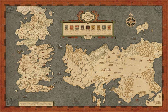 Houses of Westeros map Map of The Seven Kingdoms and the free | Etsy