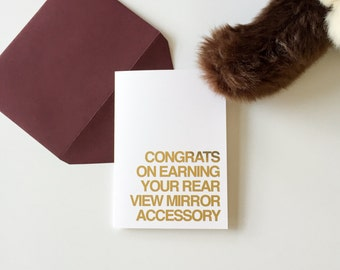 Congrats on earning your rear view mirror accessory | Graduation | Rose gold foil