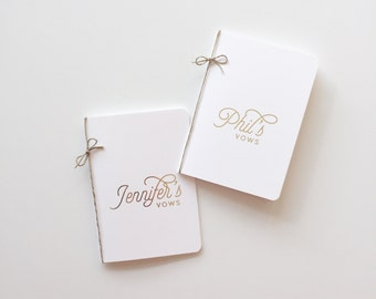 Personalized Wedding Vow Books | set of 2 | gold foil