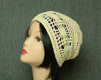 summer beret crochet cotton Beanie hat multicolor womens gift