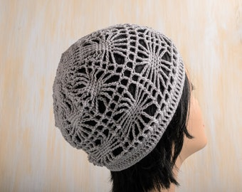 d2e430aa Summer cotton beanie, romantic crochet mesh hat, boho accessories, women  gift