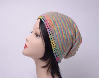 rainbow Multicolored Knit crochet summer Women's hat beanie slouchy, teen hat, cotton Knitting Hat, Accessories