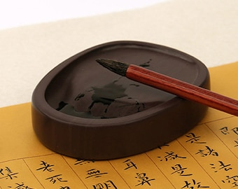 Free Shipping Chinese Calligraphy Material 9x6.9x1.5cm Chinese Inkstone Black Natural Stone Gift Box  - 0094 Orientalartmaterial Supply