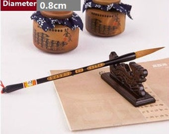 Free Shipping 4.5x0.8x28.9cm Extra Long Tip Weasel Hair Brush / Size No.4 - Wood Handle - Oriental Calligraphy Painting - 0049N4