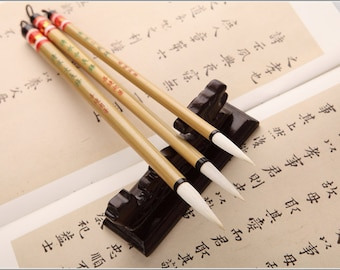 Free Shipping Chinese Calligraphy Material  Long Tip Pure Goat Hair Brush Set - Simple Style / QS - Bamboo Handle - 0015LMS