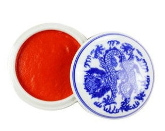 Red Seal Ink Paste / Vermillion Red Cinnabar Ink - GMZS / Blue and White Porcelain Bowl / Dragon Style / 30g -  0002
