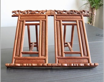 42x24x22cm Natural Wood Chinese Folding Book Holder Book Rest / Rosewood - Oriental Calligraphy Painting Accessory - 0001