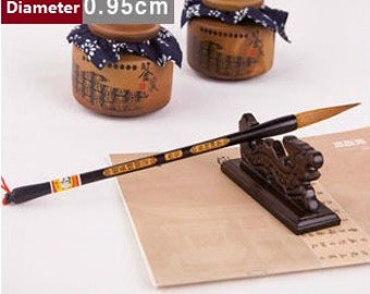 Free Shipping 6.2x0.95x30.1cm Extra Long Tip Weasel Hair Brush / Size No.3 - Wood Handle - Oriental Calligraphy Painting - 0049N3