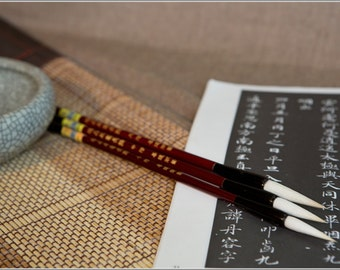 Free Shipping Chinese Calligraphy Material  Long Tip Goat Hair Brush Set - Super Quality (Large,Medium,Small) - Wood Handle - 0002LMS