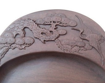 Free Shipping Chinese Calligraphy Material  15x10.5x1.8cm Natural Stone Chinese Inkstone Egg Shape Carved Pattern / Pine Tree Cranes -  0020