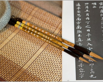 Free Shipping Chinese Calligraphy Material  Weasel Hair Brush Set / JPLH (Large,Medium,Small) - Bamboo Handle - 0060LMS