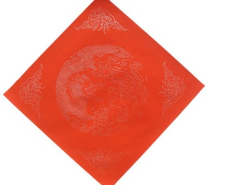 Chinese Calligraphy Material  34x34cm Red Xuan Paper Couplets / Square / Dragon Phoenix / 1 Piece - 0014C