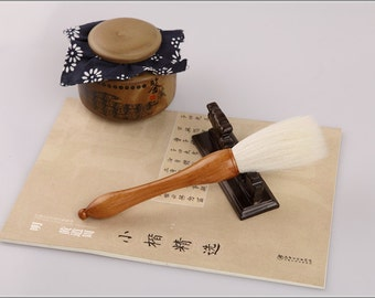 Free Shipping Chinese Calligraphy Material  7.9x2.3cm Goat Hair Grab Brush / JZ - Cypress Wood Handle - 0010