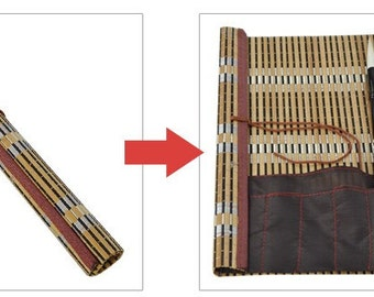 Free Shipping Chinese Calligraphy Material  44x50cm Natural Bamboo Roll-up Brush Holder / Brush Protecting Bag - XXL -  0005
