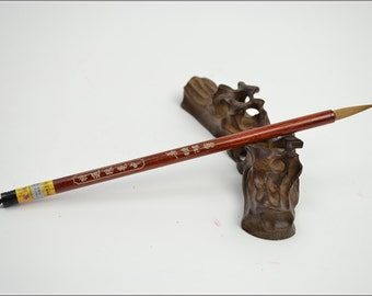 Free Shipping 3x1x21cm Selected Weasel Hair Brush (Medium) - Red Sandalwood Handle - Oriental Calligraphy Painting - 0052M
