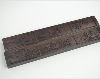 Free Shipping Chinese Calligraphy Material  38x5.5x2.5cm Pair Natural Wood Chinese Relief Paperweight / MLZJ - Black Catalpa Wood -  0030