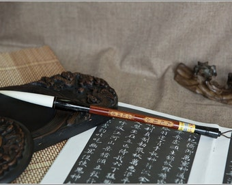 Free Shipping Chinese Calligraphy Material  7.5x1.6cm Goat Hair Brush / LTDB (Large) - Red Sandalwood and Ox Horn Handle - 0011L