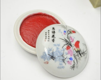 Free Shipping Chinese Calligraphy Material  Red Seal Ink Paste / Red Cinnabar Ink / Hand Painted Porcelain Bowl / Bird Flower / 5g -  0003