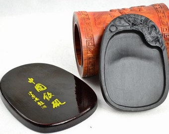 Free Shipping Chinese Calligraphy Material  12x8x1.5x0.8cm Natural Stone Chinese Inkstone - Carved Dragon -  0001