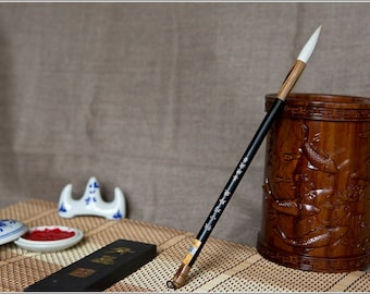 Free Shipping Chinese Calligraphy Material  4.3x1cm Dainty Goat Hair Brush (Large) - Bamboo and Organic Material Handle - 0007L