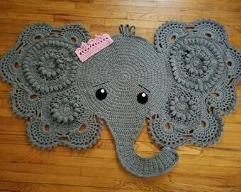 "Elephant rug, 70"" x 36"", hand crocheted"