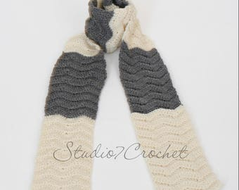 Scarf, cream and gray, hand crocheted