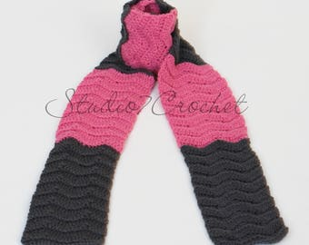 Scarf, pink and charcoal gray, chevron design
