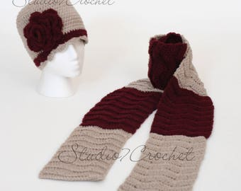 Flapper hat with rose and matching chevron scarf, beige and maroon, teen/adult size