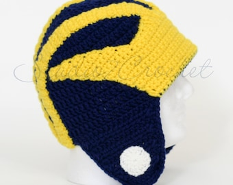 Maize and blue helmet, made to order, toddler, child, adult sizes