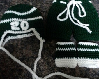 Hockey gifts, crocheted baby outfit