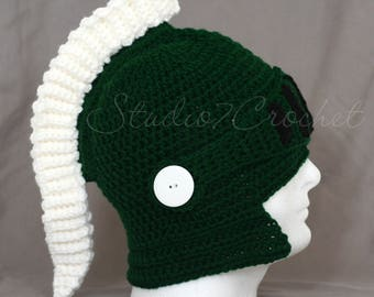 Green and white spartan / gladiator helmet, baby sizes