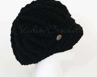 Newboys hat, black, women/teens, hand crocheted