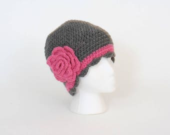 Flapper hat, gray and pink, teen/women's size, hand crocheted