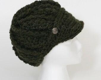 Newsboys hat, hand crocheted, dark olive