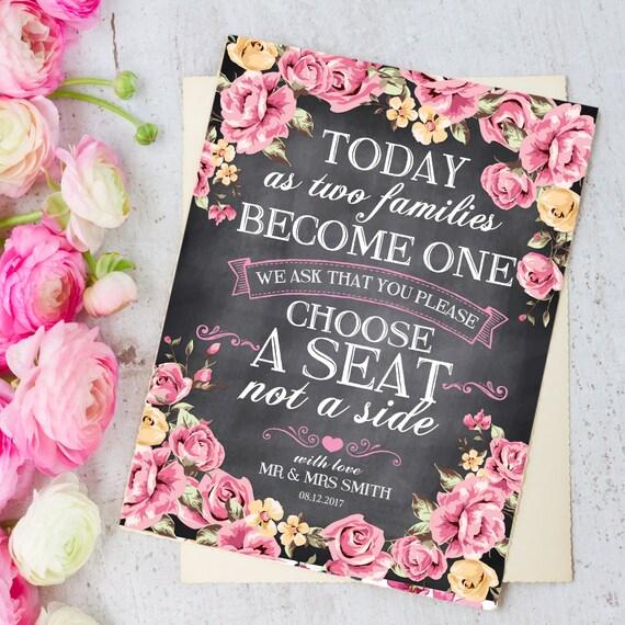 Vintage Rosas elegir un asiento todos somos familia Personalizado De Boda Letrero