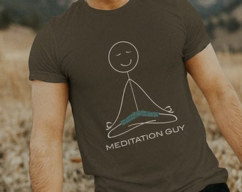 Funny Mens Meditation T-Shirt, Mindfulness Gifts - Boys Meditation Design, Mindfulness Tee, Calm Mindful Gifts