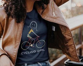 Women's Funny Cycling T-Shirt, Biking Gifts Girls - Women Cyclist Shirt - Cyclist Gift - Cycling Gift - Girl Biker Tee