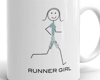 Funny Womens Running Coffee Mug, Girls Jogger Runner Gift - Running Gift - Girl Runner Coffee Cup - Runner Mug - Running Cup