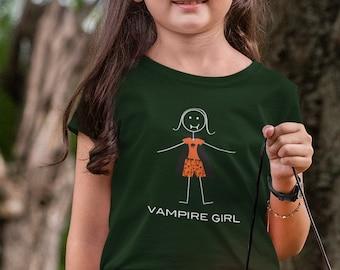 Youth Funny Vampire T-Shirt Girls, Halloween Gifts Girls - Vampire Gift - Girls Halloween Shirt - Kids Vampire Tee - Vampire Halloween