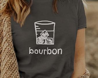 Women's Bourbon T-shirt for Whiskey Drinkers, Bourbon Gifts - Girls Bourbon Shirt - Womens Bourbon Tee - Linocut Art